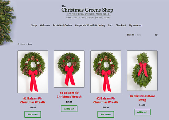 Online wreath sales from the Christmas Greens Shop